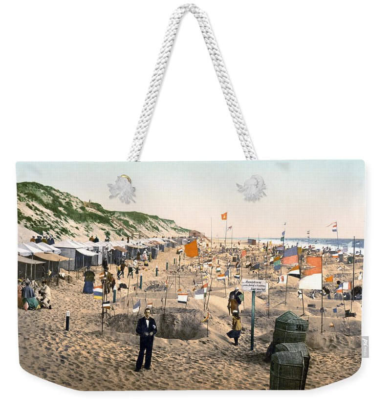1895 Weekender Tote Bag featuring the photograph Sand Castles, C1895 by Granger