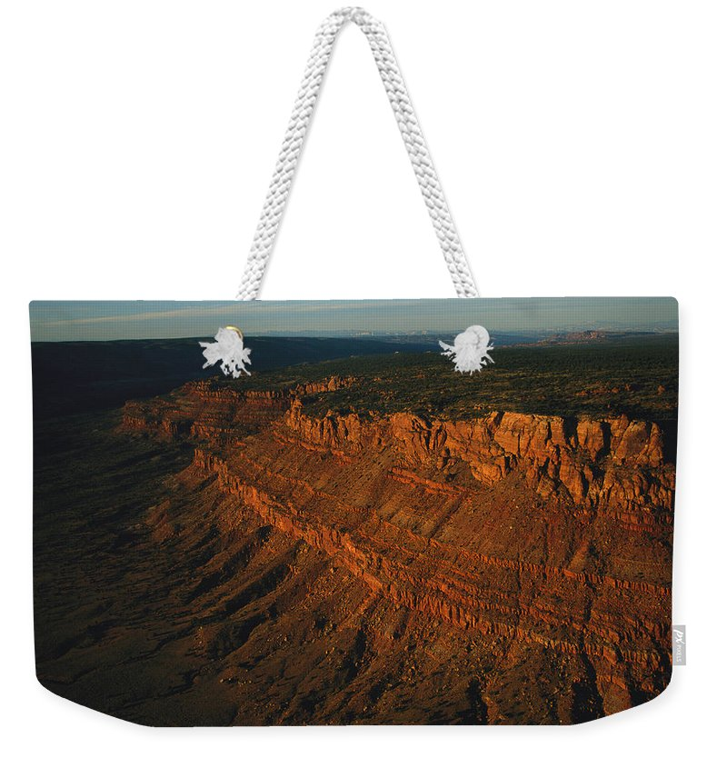 Sunlight Weekender Tote Bag featuring the photograph Sandstone-capped Escarpment by Melissa Farlow