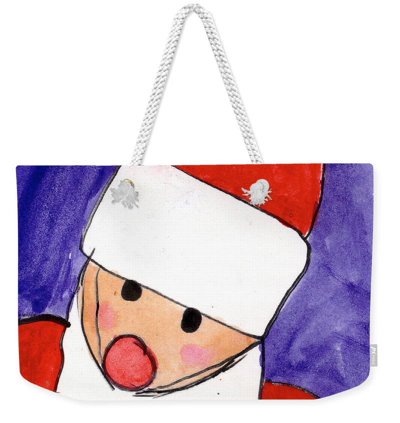 Santa Weekender Tote Bag featuring the painting Santa by Taylor Spera Age Eight