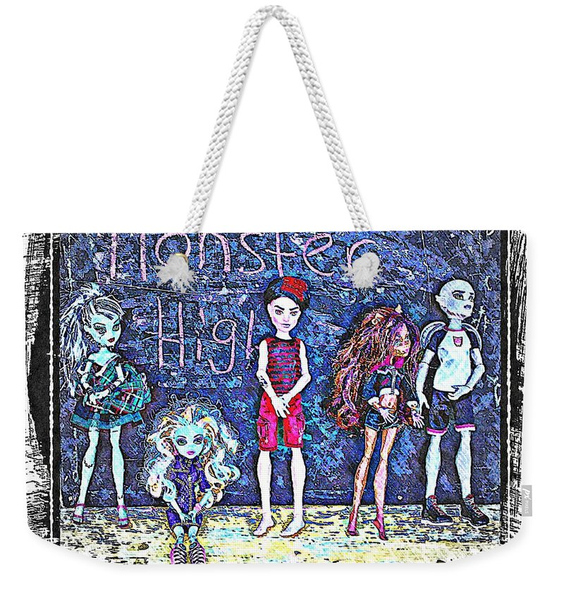 Monster High Weekender Tote Bag featuring the digital art Sarah's Monster High Collection Sketch by Barbara Griffin