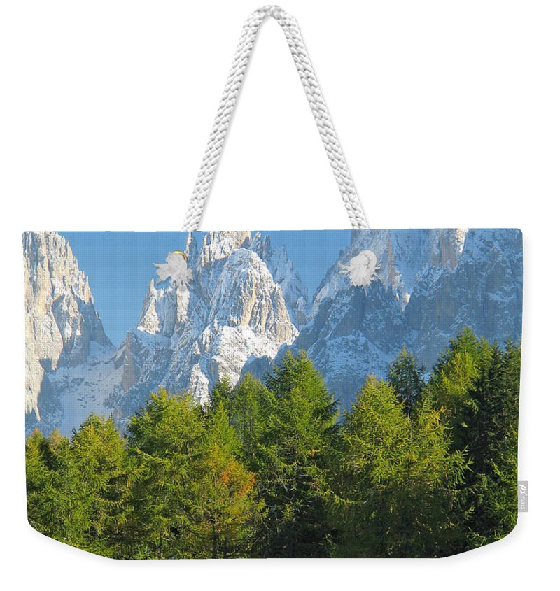 Sasso Lungo Weekender Tote Bag featuring the photograph Sasso Lungo Group In The Dolomites Of Italy by Greg Matchick