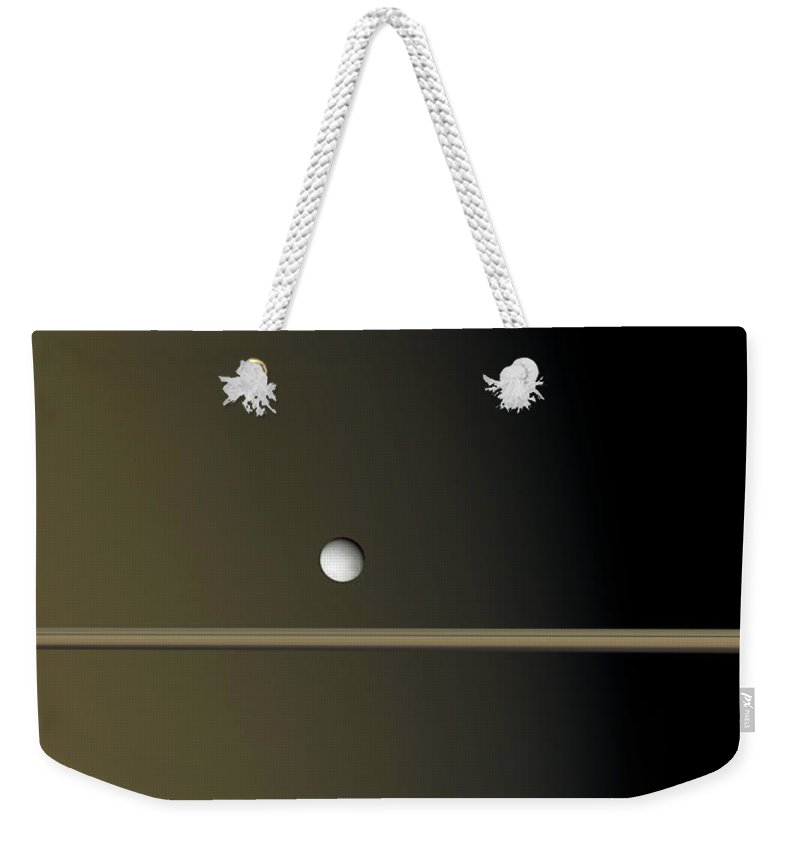 2006 Weekender Tote Bag featuring the photograph Saturns Moon Enceladus, Cassini Image by NASA/JPL/Space Science Institute