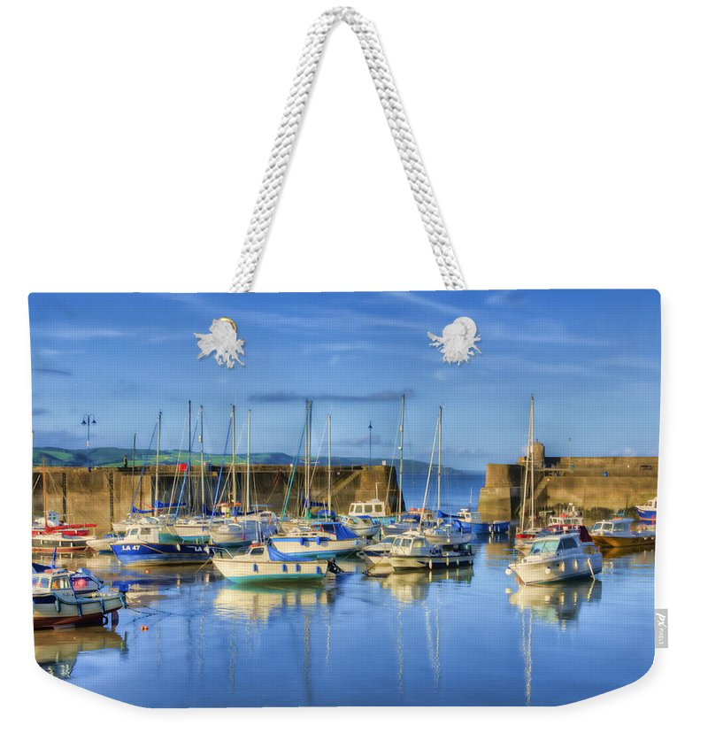 Saundersfoot Harbour Weekender Tote Bag featuring the photograph Saundersfoot Boats Painted by Steve Purnell