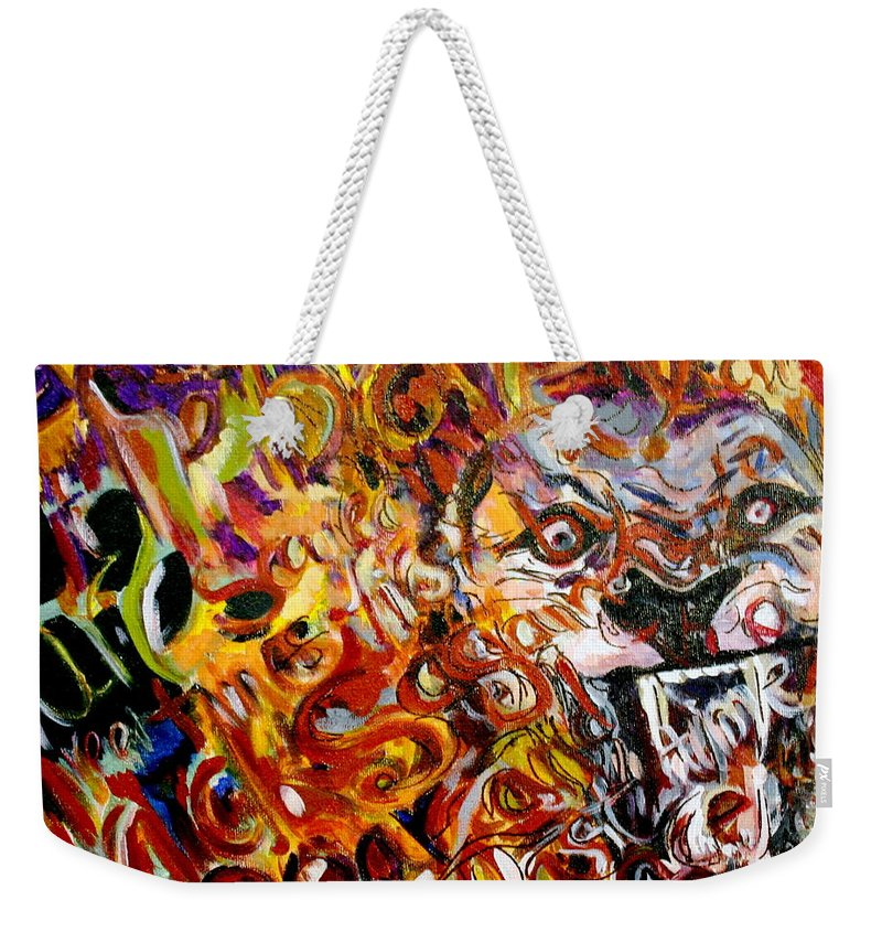 Lion Weekender Tote Bag featuring the painting Savannah Lions by Kate Fortin