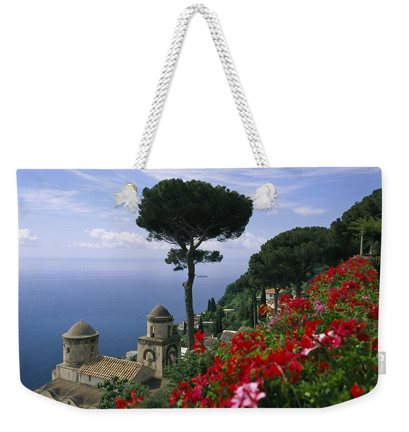 Europe Weekender Tote Bag featuring the photograph Scenic View Of Villa Rufolo Terrace by Richard Nowitz