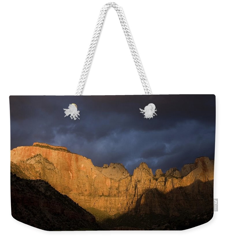Day Weekender Tote Bag featuring the photograph Scenic View Of Zion National Park by John Burcham