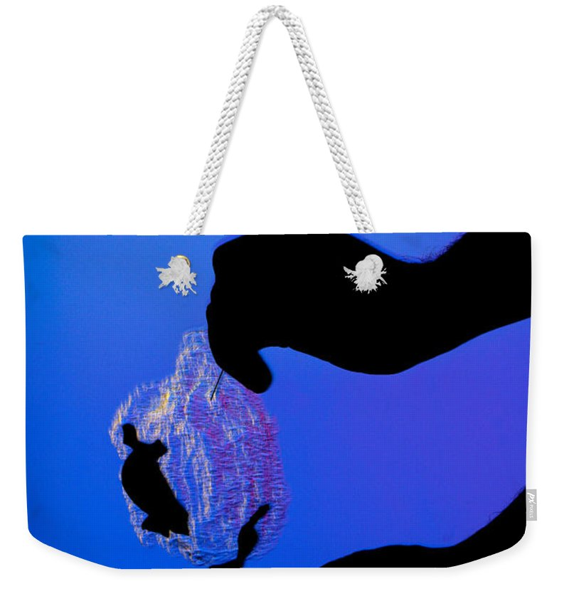 Schlieren Weekender Tote Bag featuring the photograph Schlieren Image Of A Balloon Popping by Ted Kinsman