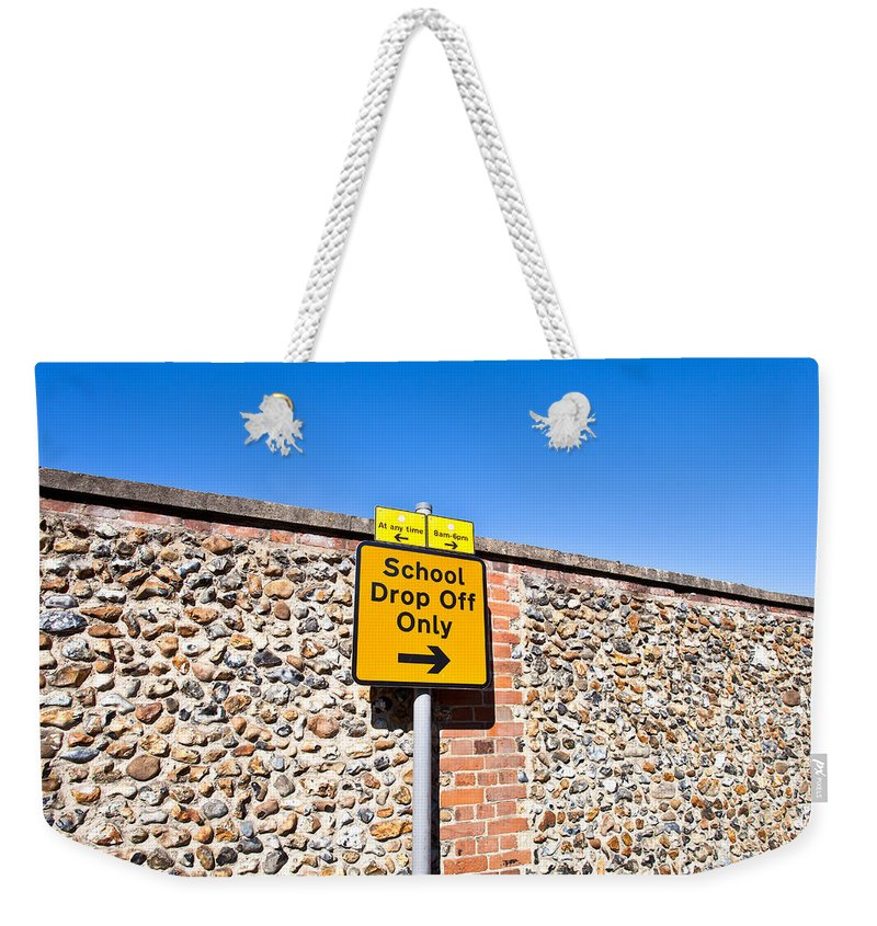 Back Weekender Tote Bag featuring the photograph School Parking Sign by Tom Gowanlock
