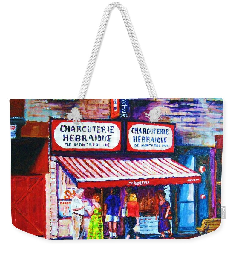Cityscene Weekender Tote Bag featuring the painting Schwartz's Deli With Lady In Green Dress by Carole Spandau