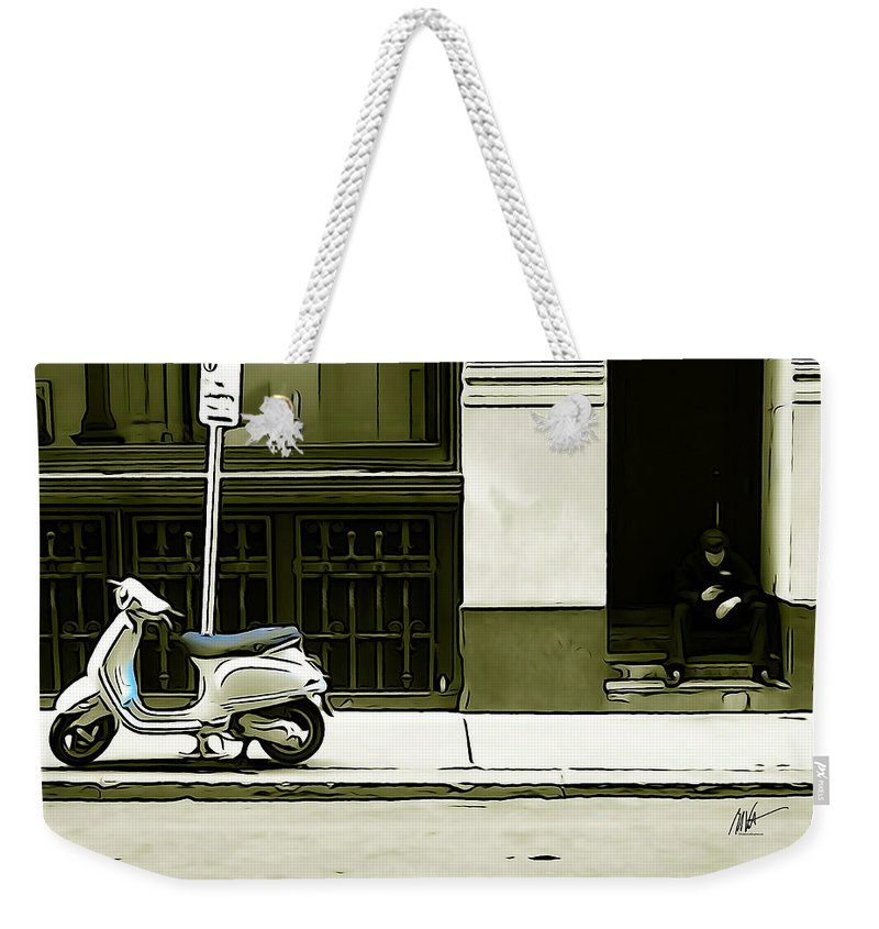 Scooter Weekender Tote Bag featuring the photograph Scooter And Man - Illustration Conversion by Mark Valentine