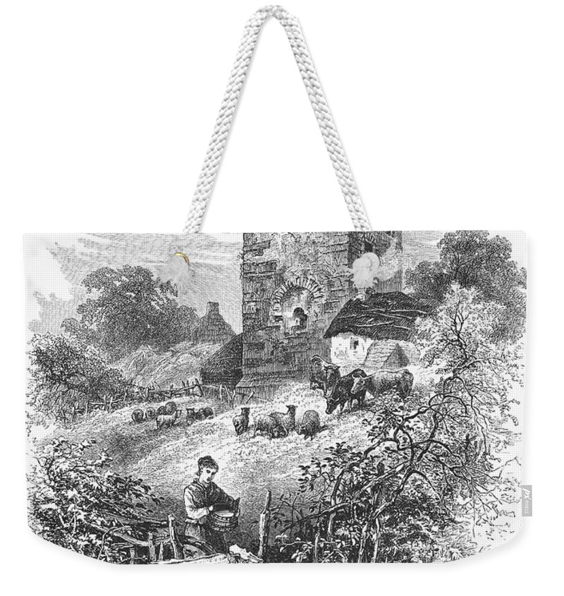 1875 Weekender Tote Bag featuring the photograph Scotland: Gilnockie Tower by Granger