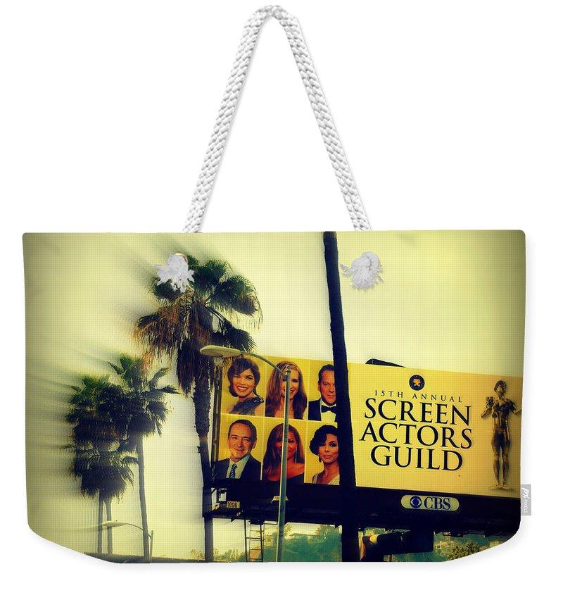 Hollywood Weekender Tote Bag featuring the photograph Screen Actors Guild In La by Susanne Van Hulst