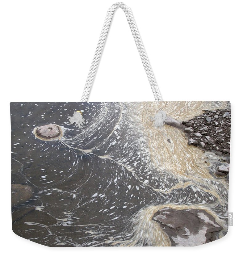 Sea Weekender Tote Bag featuring the photograph Sea Foam And Algae by Ted Kinsman