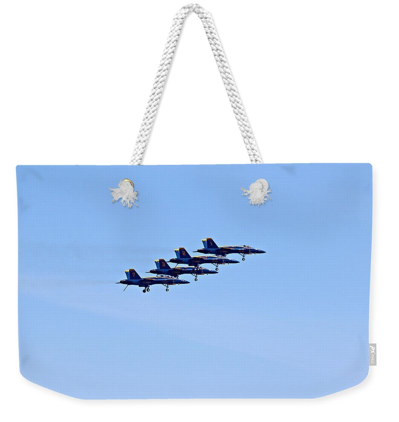 Aerobatics Weekender Tote Bag featuring the photograph Seafair Blue Angels by Paul Fell