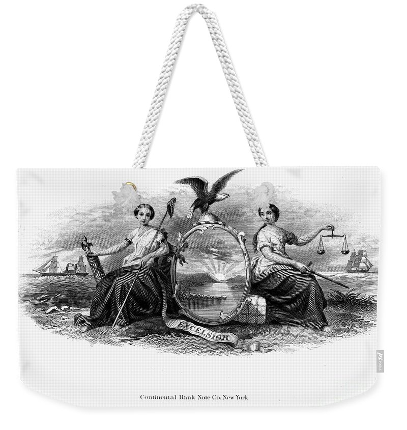 1870 Weekender Tote Bag featuring the photograph Seal Of New York, 1870 by Granger