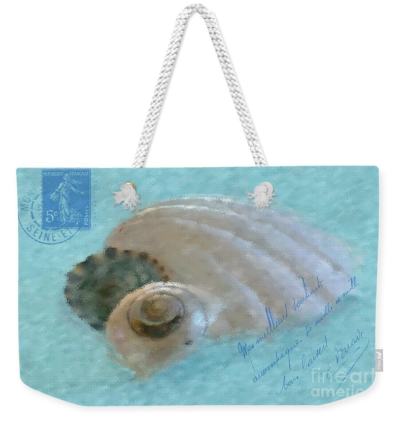 Shell Weekender Tote Bag featuring the photograph Seashells In Aqua by Betty LaRue