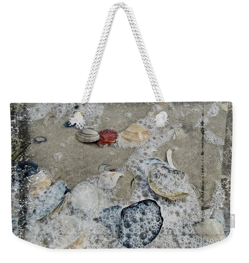 Shells Weekender Tote Bag featuring the photograph Seashells In The Surf by Mother Nature