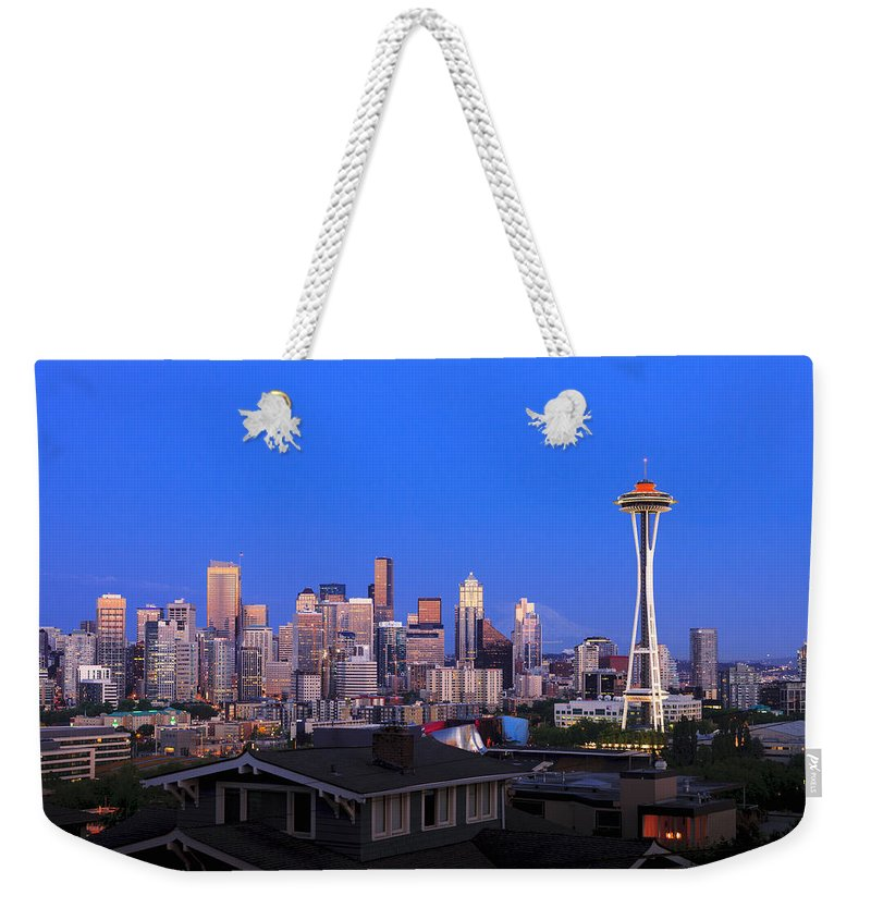 Seattle Skyline 7-7-12 Weekender Tote Bag featuring the photograph Seattle Skyline 3 by Mike Penney