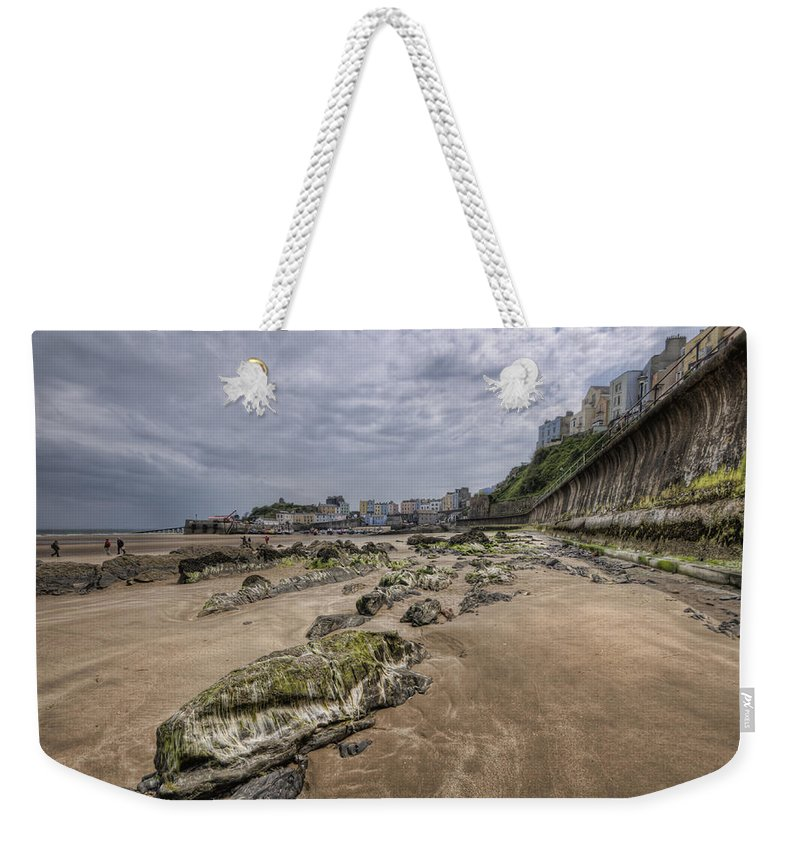 Tenby Harbour Weekender Tote Bag featuring the photograph Seaweed Rocks Tenby by Steve Purnell
