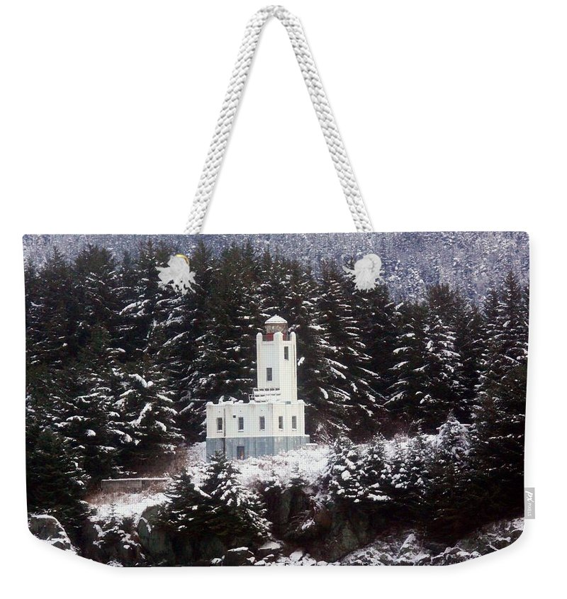 Lighthouses Weekender Tote Bag featuring the photograph Sentinel Island Lighthouse In The Snow by Myrna Bradshaw