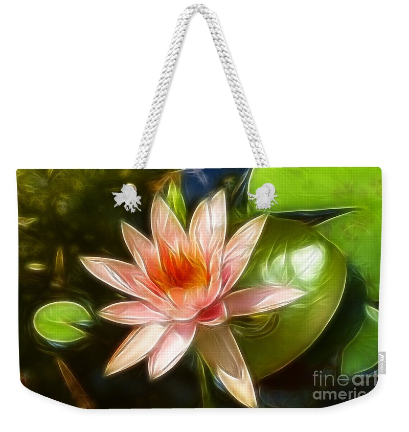Lily Weekender Tote Bag featuring the photograph Serene Pink Waterlily by Darleen Stry