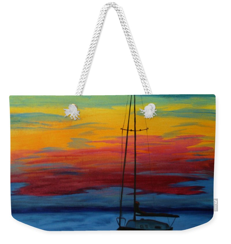 Boat Weekender Tote Bag featuring the painting Serene Sunset by Tony Baker
