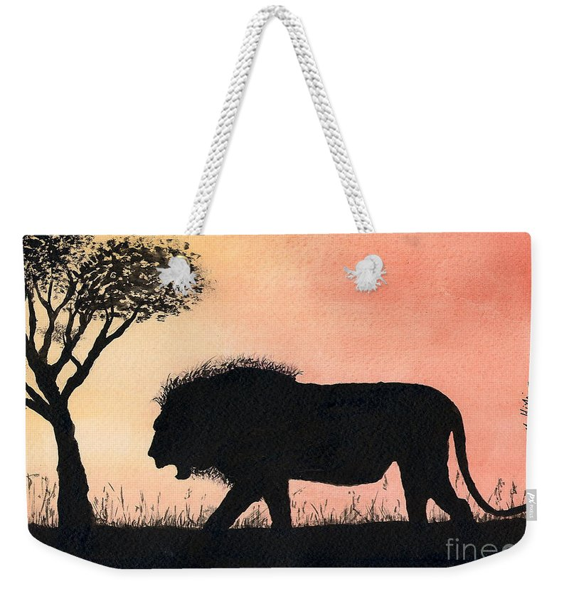 Simba Weekender Tote Bag featuring the painting Serengeti Sunset by Mohamed Hirji