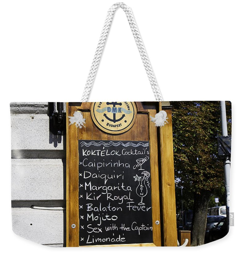 Sign Weekender Tote Bag featuring the photograph Sex With The Captain by Madeline Ellis
