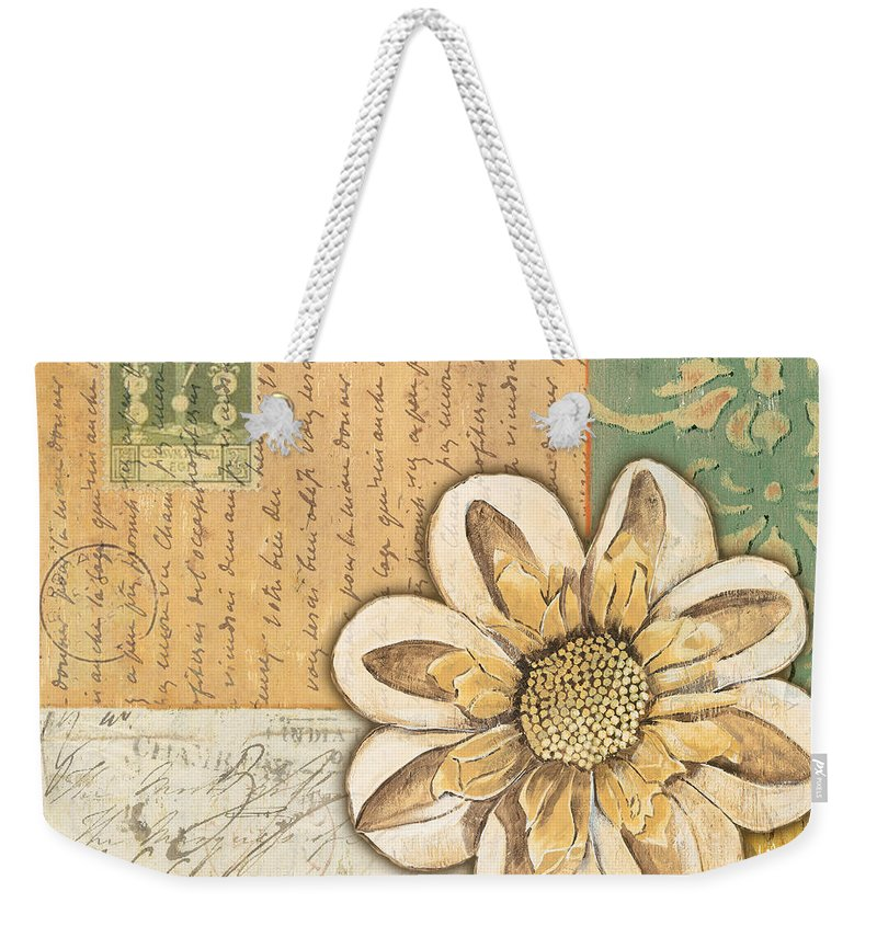 Flower Weekender Tote Bag featuring the painting Shabby Chic Floral 2 by Debbie DeWitt