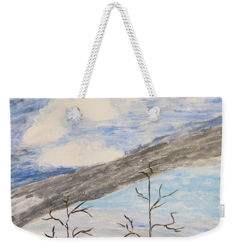 Shades Of Clouds In The Sky Weekender Tote Bag featuring the painting Shades Of Nature by Sonali Gangane