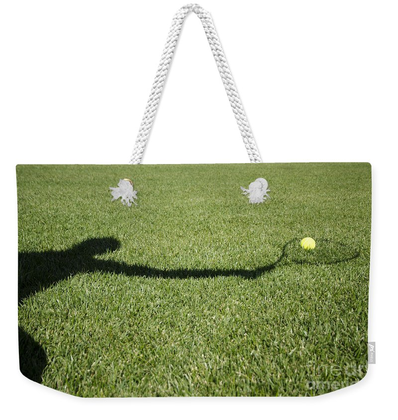 Tennis Weekender Tote Bag featuring the photograph Shadow Playing Tennis by Mats Silvan