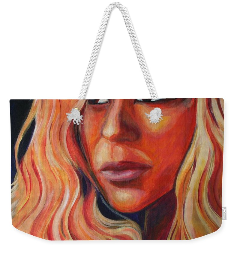 Weekender Tote Bag featuring the painting Shakira by Kate Fortin