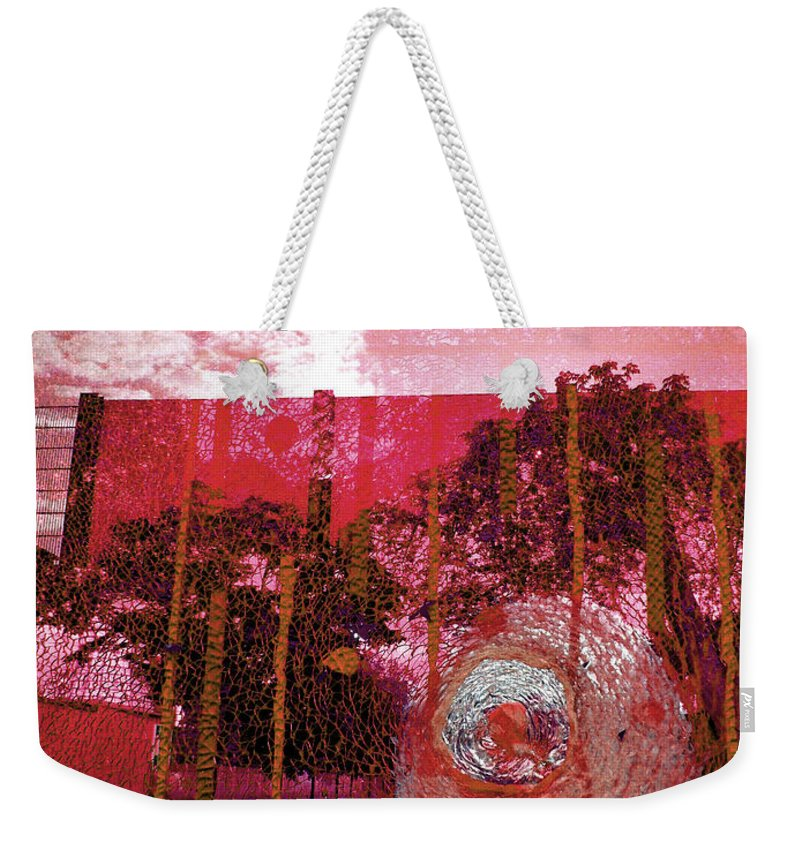 Abstract Photography Weekender Tote Bag featuring the photograph Abstract Shattered Glass Red by Andy Prendy