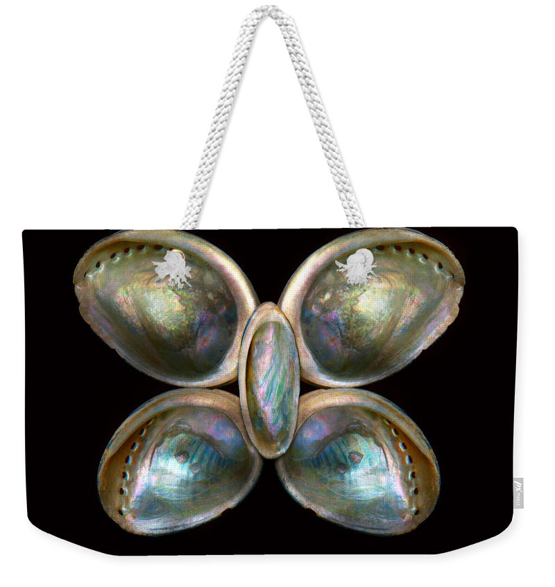 Butterfly Weekender Tote Bag featuring the photograph Shell - Conchology - Devine Pearlescence by Mike Savad
