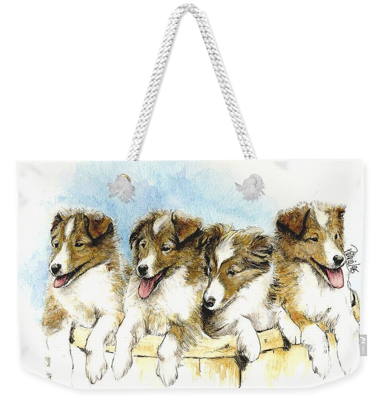 Dog Art Weekender Tote Bag featuring the painting Sheltie Pups by Patrice Clarkson