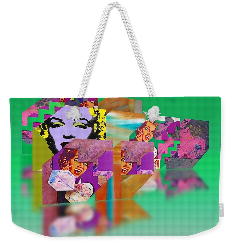 Scream Weekender Tote Bag featuring the painting Shocking Green by Charles Stuart