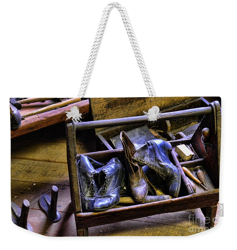 Shoe Weekender Tote Bag featuring the photograph Shoe - The Shoe Cobblers Box by Paul Ward