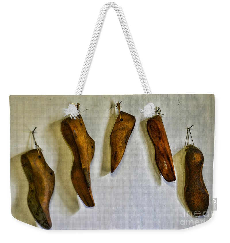 Shoe Weekender Tote Bag featuring the photograph Shoe - Wooden Shoe Forms by Paul Ward