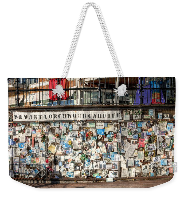 Ianto Jones Weekender Tote Bag featuring the photograph Shrine To Ianto by Steve Purnell