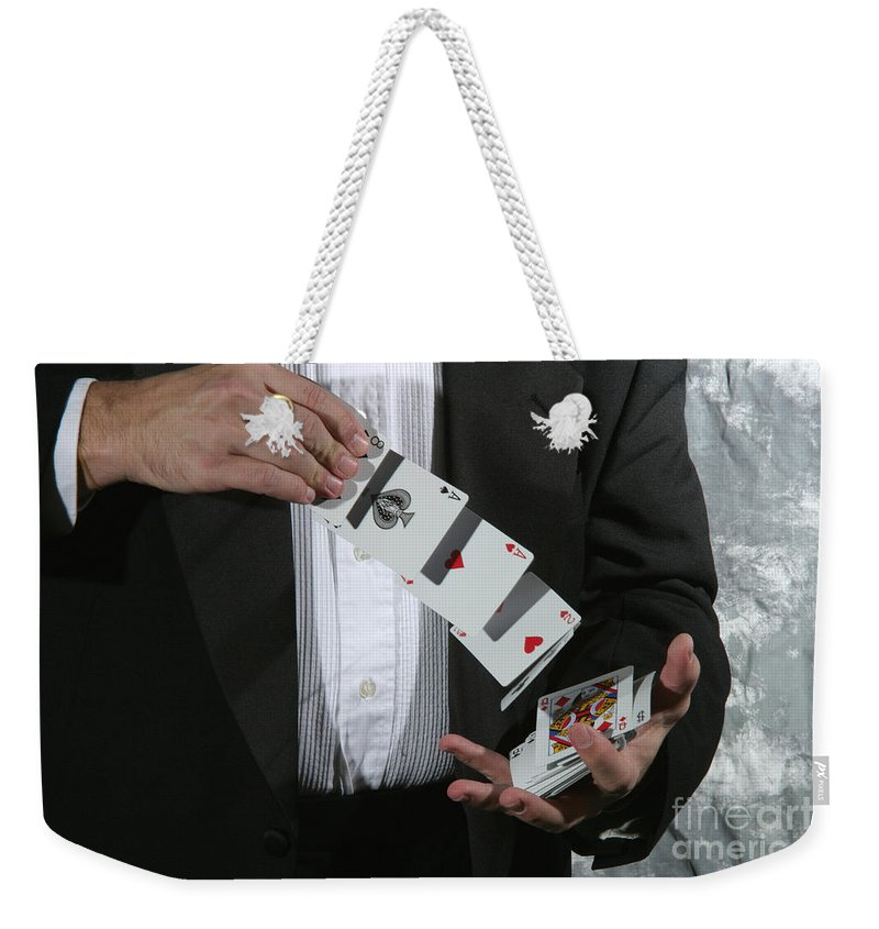 Cards Weekender Tote Bag featuring the photograph Shuffling Cards by Ted Kinsman