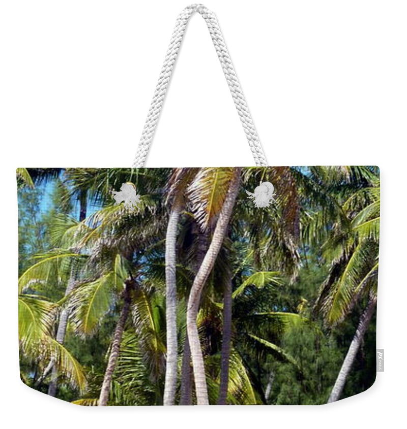 Palm Weekender Tote Bag featuring the photograph Shy Palms by Carla Parris