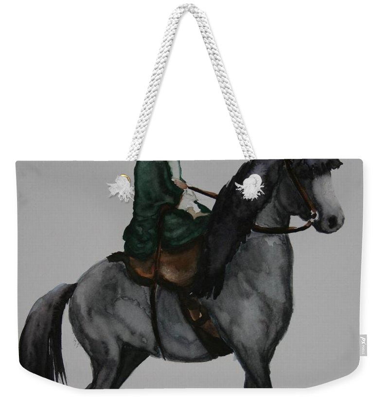 Grey Horse Weekender Tote Bag featuring the painting Sidesaddle by Susan Herber
