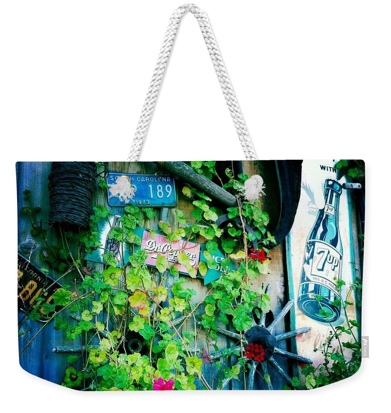 Sign Weekender Tote Bag featuring the photograph Sign Wall by Nina Prommer