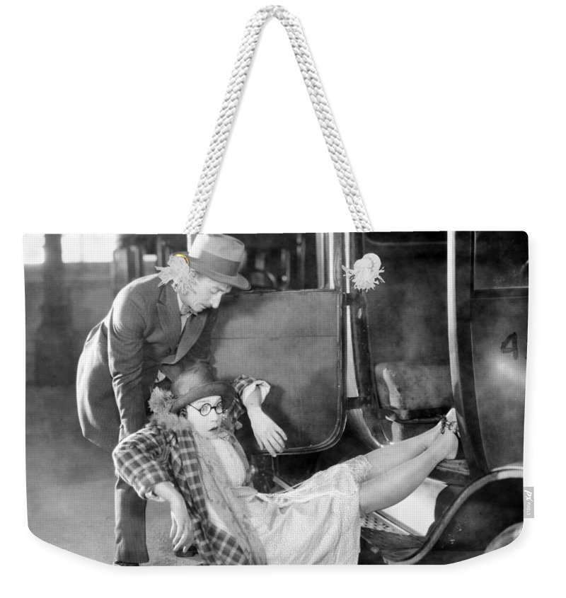 -accidents- Weekender Tote Bag featuring the photograph Silent Film Still: Accidents by Granger