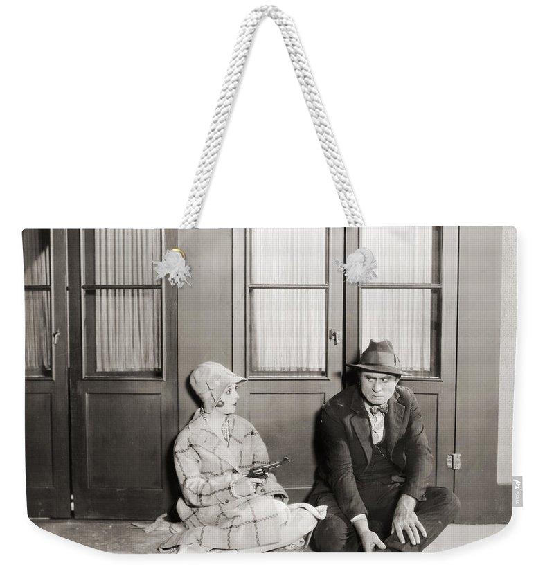 -guns- Weekender Tote Bag featuring the photograph Silent Film Still: Guns by Granger