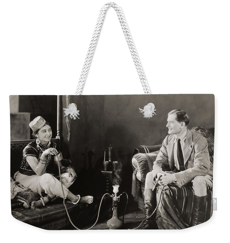 -smoking- Weekender Tote Bag featuring the photograph Silent Film Still: Smoking by Granger