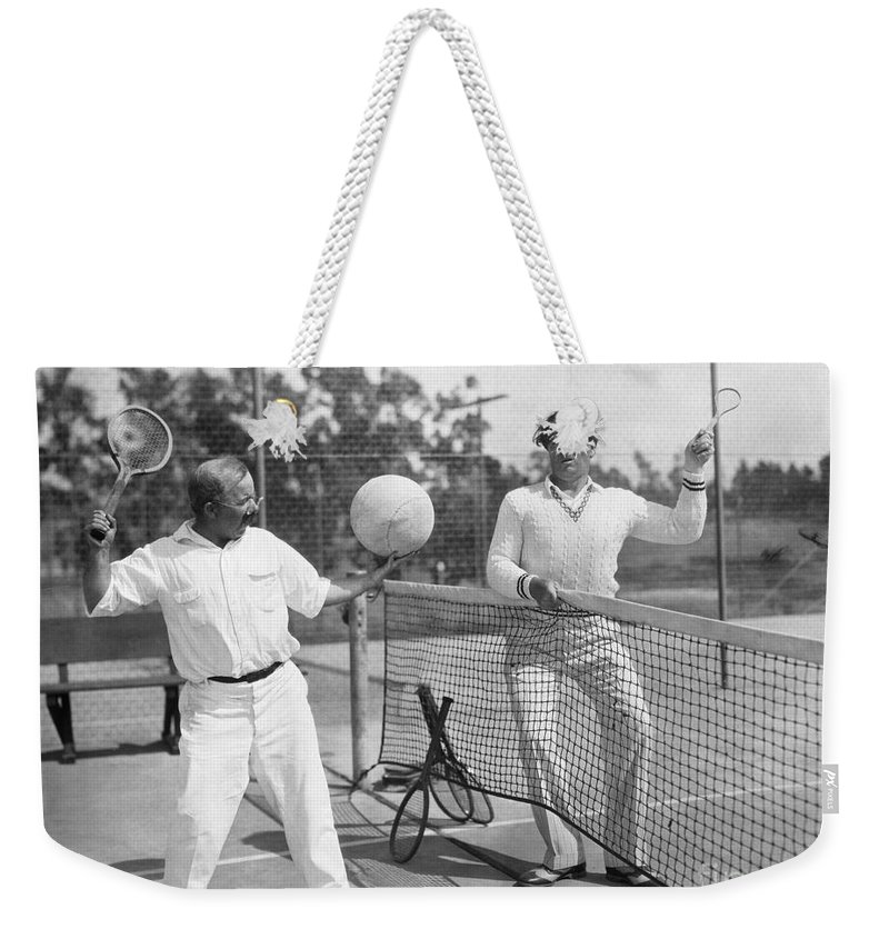 -sports- Weekender Tote Bag featuring the photograph Silent Film Still: Sports by Granger