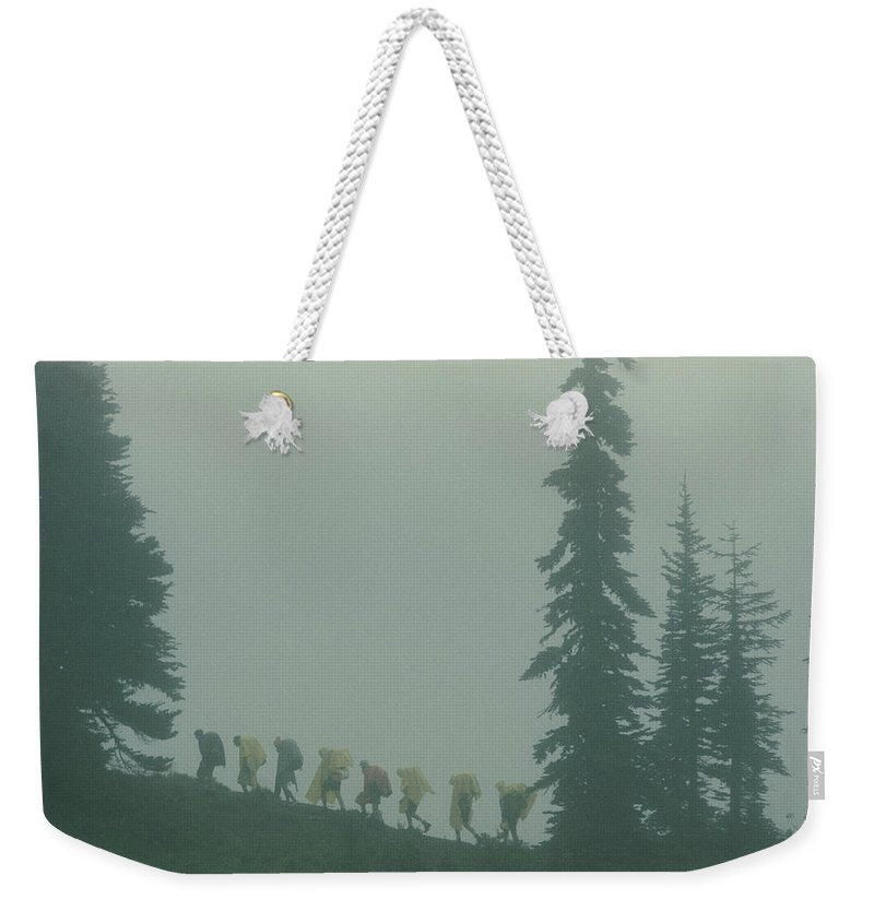 mount Rainier National Park Weekender Tote Bag featuring the photograph Silhouette Of Girl Scouts by B. Anthony Stewart