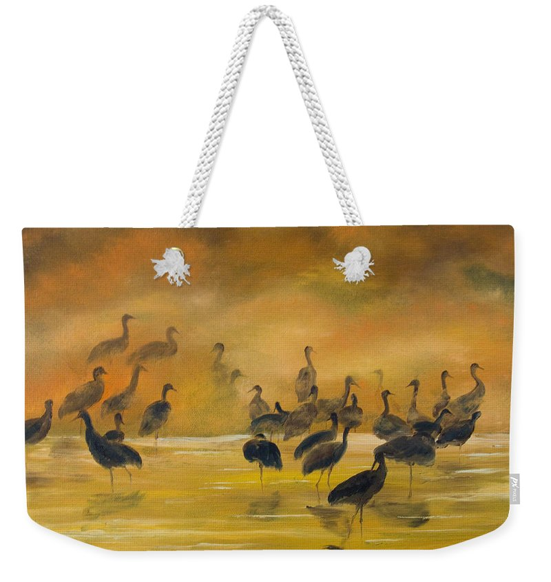 Silhouette Weekender Tote Bag featuring the painting Silhouettes In The Mist by Dee Carpenter