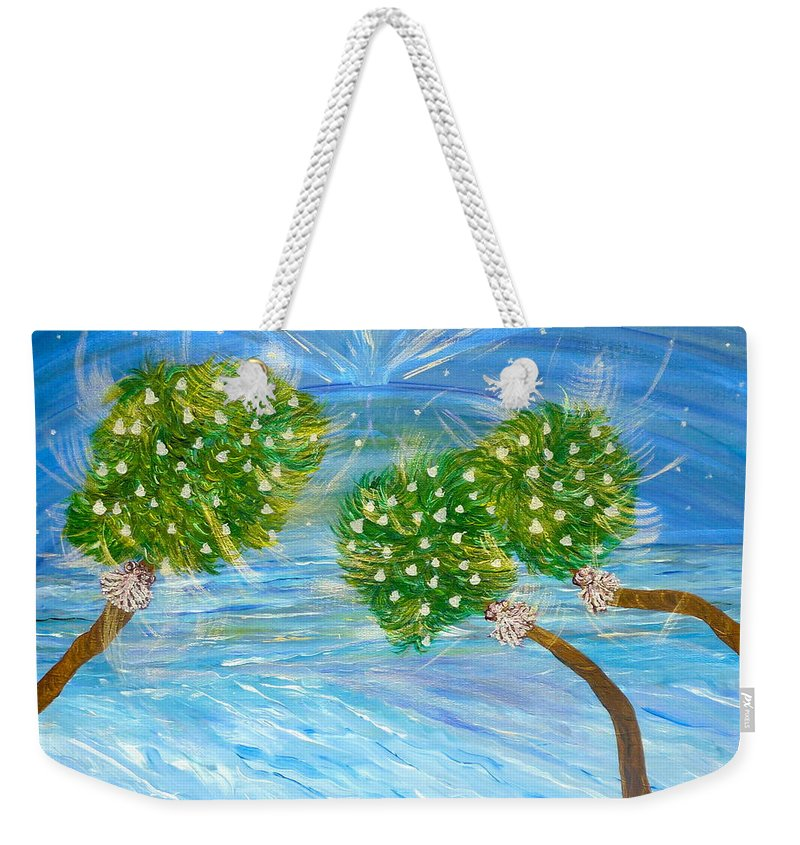 Christmas Card On The Coast Weekender Tote Bag featuring the painting Silver Bells by Sara Credito